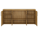 Cortina 4 Door Wide Glazed Sideboard Oak Finish