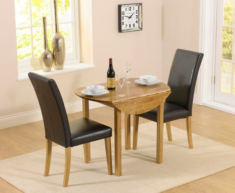 Promo Round Extending Solid Oak Dining Set with 2 Atlanta Leather Chairs