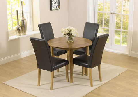 Promo Round Extending Solid Oak Dining Set with 4 Atlanta Leather Chairs