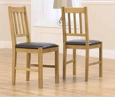 Promo Solid Oak Dining Chair with Black PU Seat (Pair)
