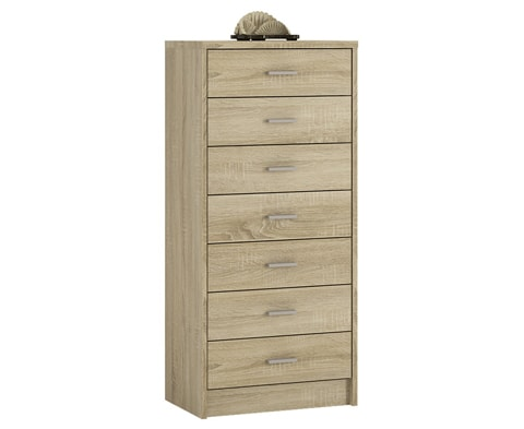4 You Wooden 7 Drawer Narrow Chest - 2 Colours