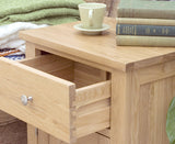 Mobel Solid Oak Wood One Door One Drawer Lamp Table