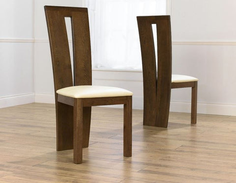 Dark Arizona Solid Oak Chairs with Leather Upholstery (Set of 2)