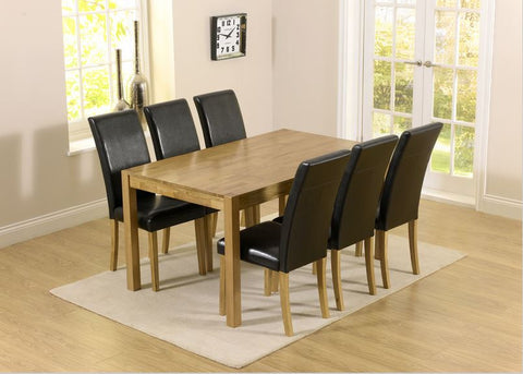 Promo Atlanta 150cm Solid Oak Dining Set 6 Leather Chairs