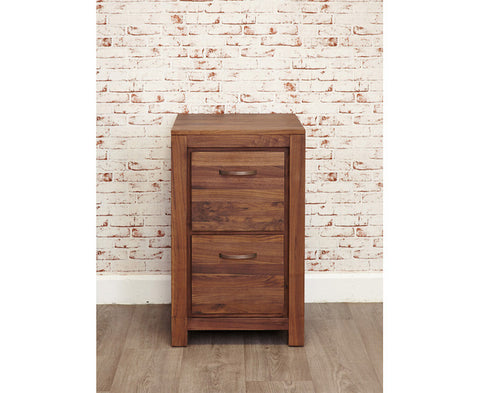 Mayan Solid Walnut Two Drawer Filing Cabinet