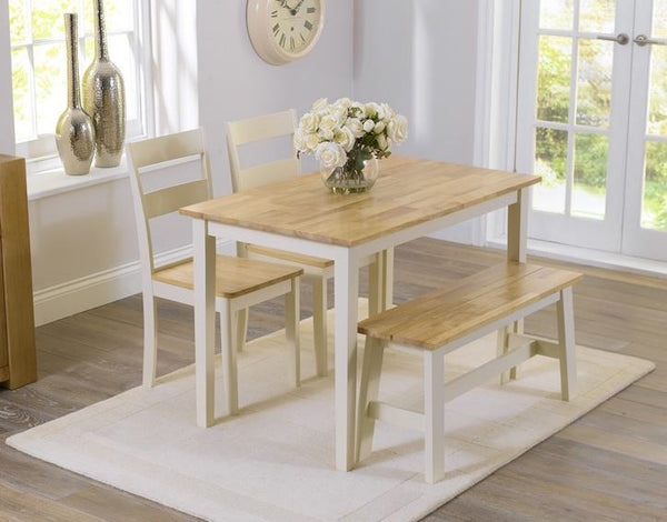 Chichester 115cm Solid Oak and Cream Dining Set with 2 Chairs & Bench