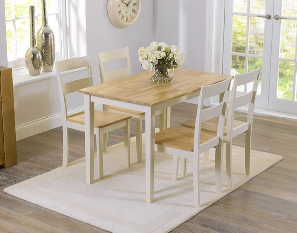 Chichester 115cm Solid Oak and Cream Dining Set + 4 Chairs