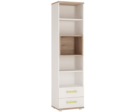 4KIDS Wooden Tall 2 Drawer Bookcase in Light Oak & White High Gloss - 4 Colours