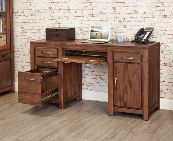 Mayan Solid Walnut Twin Pedestal Computer Desk