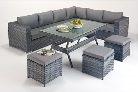Platinum Table Corner Sofa (R) with Dining Table & Footstools