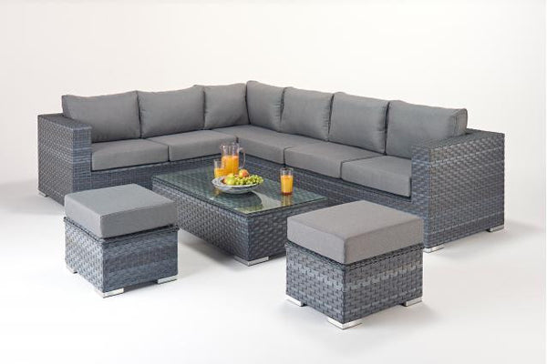 Platinum Large Corner Sofa (L) with Table & Footstools