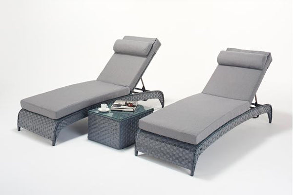 Platinum Grey Lounger (Pairs) & Side Table