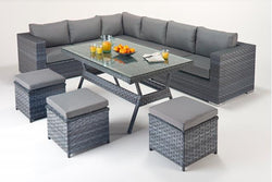 Platinum Table Corner Sofa (L) with Dining Table & Footstools