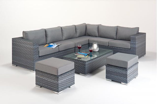 Platinum Large Corner Sofa (R) with Coffee Table & Footstools