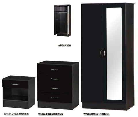 Alpha Black Gloss Two Tone 2 Door Mirrored Bedroom Set