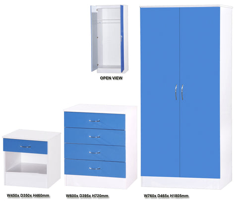 Alpha Blue Gloss & White 2 Door Standard Bedroom Set