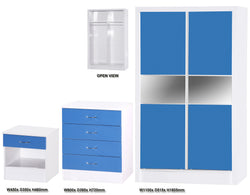 Alpha Blue Gloss & White 2 Door Slider Set