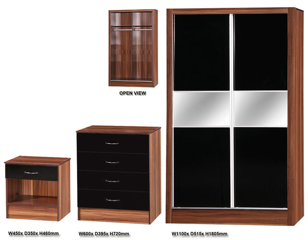 Alpha Black Gloss & Walnut 2 Door Slider Set