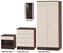 Alpha Creme Gloss & Walnut 2 Door Std Set