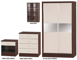 Alpha Creme Gloss & Walnut 2 Door Slider Set