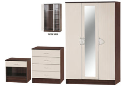 Alpha Creme & Walnut 3 Door Mirrored Set