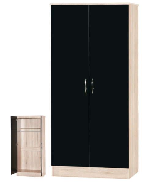 Alpha Black Gloss & San Oak 2 Door Standard Wardrobe