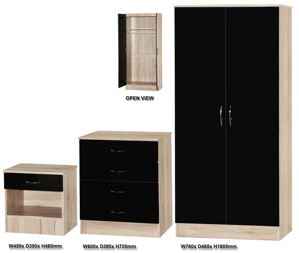 Alpha Black Gloss & Oak 2 Door Std Set