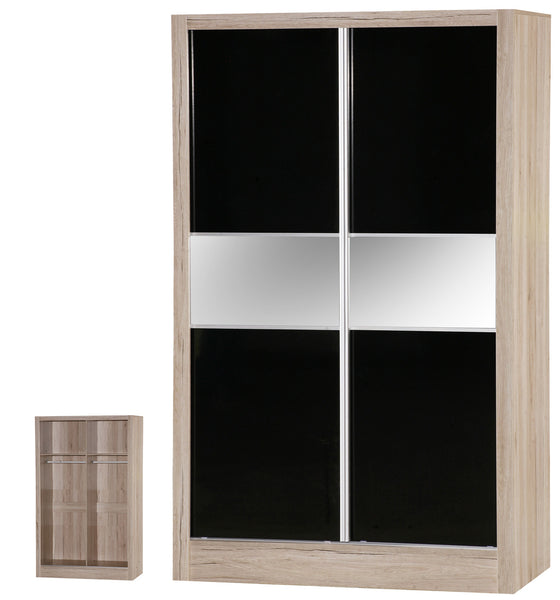 Alpha Black Gloss & Oak 2 Door Sliding Wardrobe