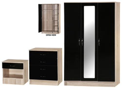 Alpha Black Gloss & San Oak 3 Door Mirrored Set