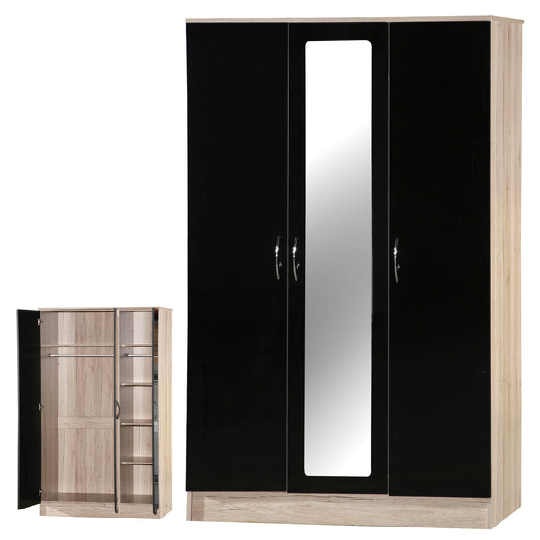 Alpha Black Gloss & San Oak 3 Door Mirrored Wardrobe