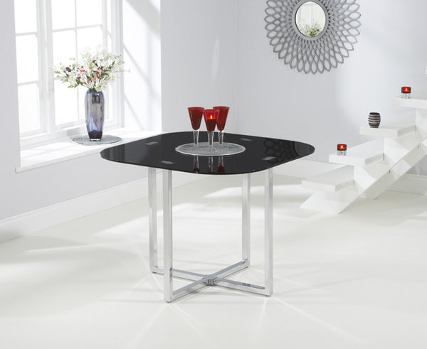 Abingdon Stowaway Dining Table in Black + 4 Stools