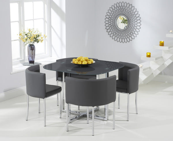 Abingdon Stowaway Glass  Dining Table in Grey + 4 PU Leather Stools