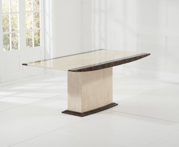 Alba 180cm Cream & Brown Marble Dining Table
