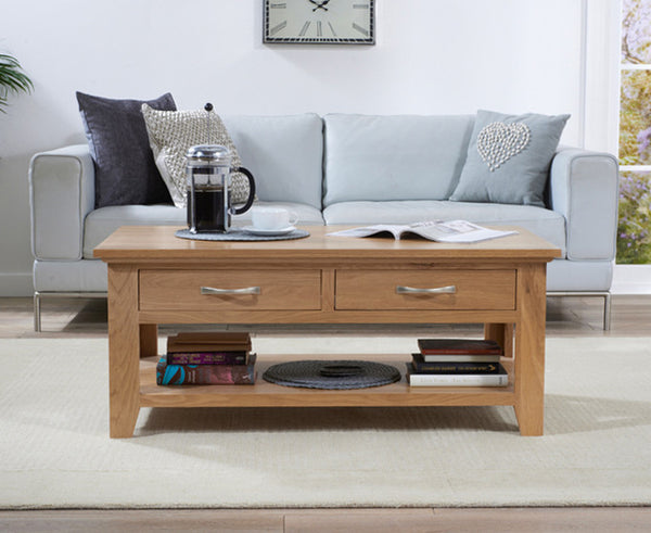 Cambridge Solid Oak Coffee Table (2 Drawers)