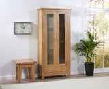 Cambridge 180cm Oak Display Unit (2 doors + 1 drawer)