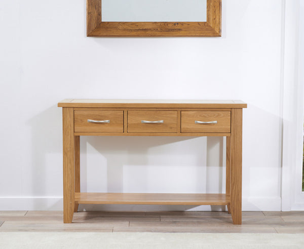 Cambridge 120cm Solid Oak Console Table with 3 Drawers Storage