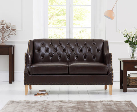 Carmen Brown Leather 2 Seater Sofa