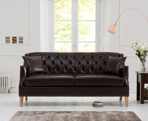 Carmen Brown Leather 3 Seater Sofa