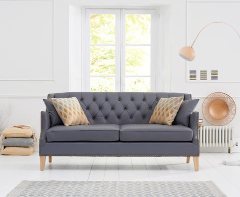 Carmen Grey Leather 3 Seater Sofa
