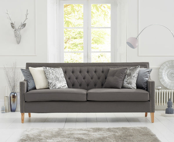 Casa Bella Grey Fabric 3 Seater Sofa