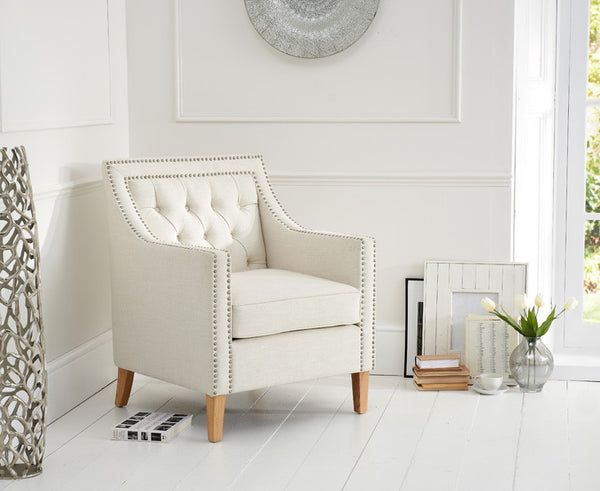 Casa Bella Ivory Fabric Upholstery Armchair