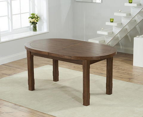 Cheyenne Oval Dark Solid Oak Extending Dining Table