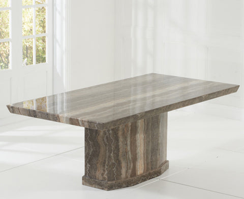 Como 200cm Brown Solid Wood Marble Dining Table
