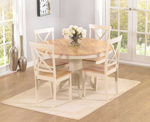 Elstree 120cm Solid Oak and Cream Round Dining Table + 4 Chairs