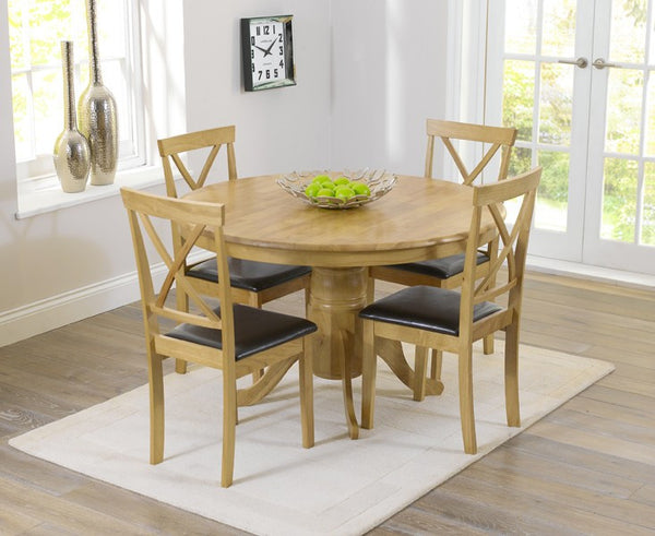 Elstree 120cm Solid Oak Round Dining Table + 4 Chairs