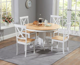 Elstree 120cm Painted Solid Oak & White Round Dining Table + 4 Chairs