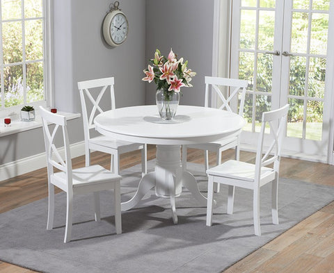 Elstree 120cm Painted White Solid Hardwood Round Dining Table + 4 Chairs