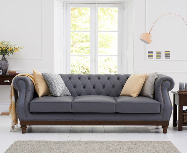 Highgrove Grey Leather 3 Seater Sofa