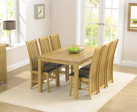 Long Island Solid Hardwood Dining Set With 6 Dining Chairs
