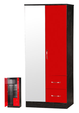 Marina Red Gloss & Black 2 Door Mirrored Wardrobe